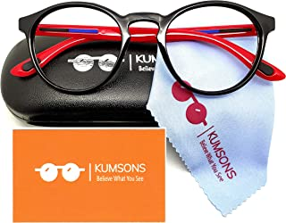 """KUMSONS Round Blue Ray Cut UV440""""ZERO Power"""" Spectacles with Polycarbonate Lens for Mobile Laptop Computer Gaming Screen P..."""