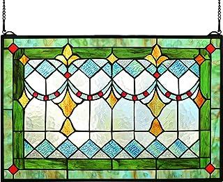 "Yogoart Tiffany Style Stained Glass Green Window/Wall Panels 24"" X 16"""
