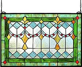 Yolic Tiffany Style Stained Glass Green Window/Wall Panels 24