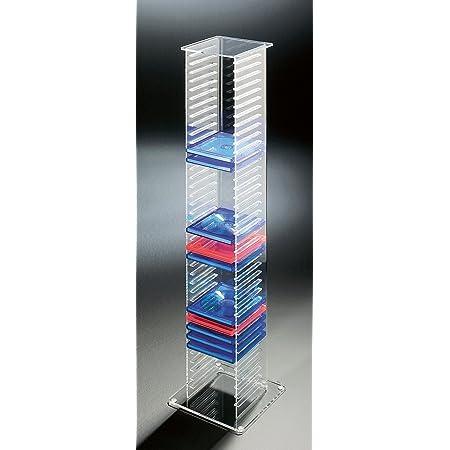 Howe Deko Hochwertiger Acryl Glas Cd Ständer Cd Regal Cd Aufbewahrung Klar Außenmaße 20 X 20 Cm H 101 Cm Acryl Stärke 6 4 Mm Küche Haushalt
