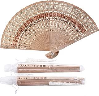 Sepwedd Set of 50pcs Sandalwood Fan Favors with Gift Bags and Tassels Wooden Folding Fan(Sunflower Pattern)