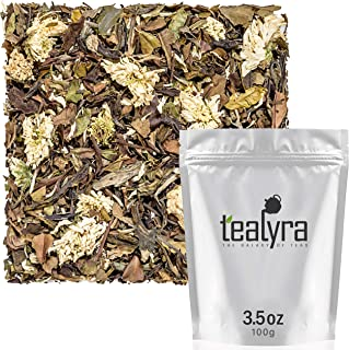 Tealyra - White Chrysanthemum Infusion - White Peony Tea and Chrysanthemum Blossoms - Loose Leaf Tea Blend - High in Antioxidants – All Natural - Healthy - Caffeine Low - 100g (3.5-ounce)