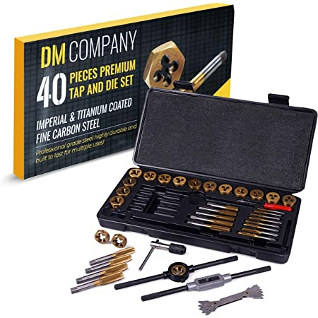 DM Company 40-Piece Standard Tap and Die Set- SAE Stainless Steel Titanium Coated Rethreading Tool Kit - Comes with Screwdriver, Tap and Die Wrenches, and Storage Box