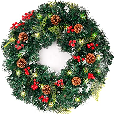 FUNARTY Christmas Wreath 22 Inches with red Berries and pinecones, 50 LED Lights for Front Door Decoration Winter Christmas I