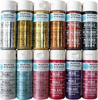Martha Stewart Crafts Multi-Surface Acrylic Craft Paint Set (2-Ounce), PROMOMET/PRL Metallic and Pearl Best Selling Colors