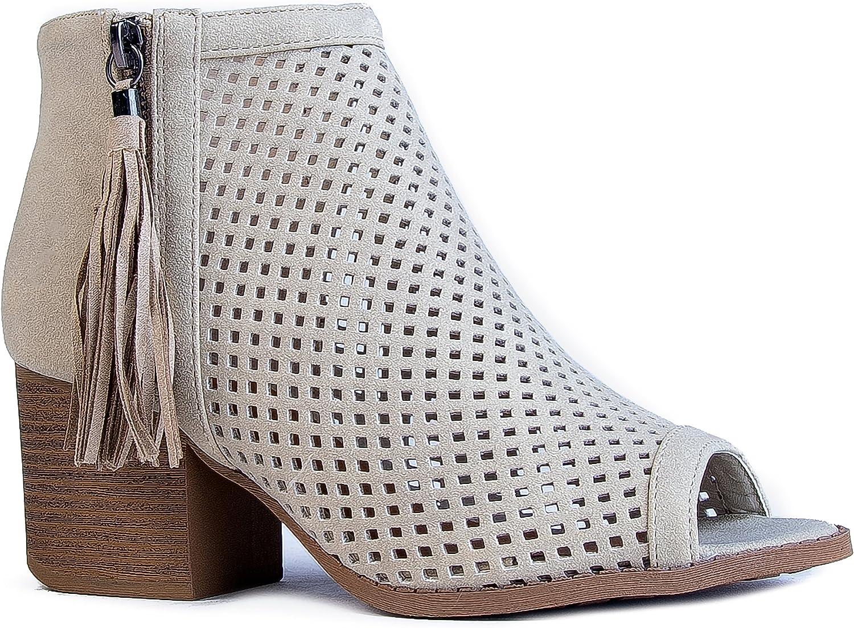 J. Adams Perforated Peep Toe Ankle Bootie - Comfortable Chunky Block Heel shoes - Low Stacked Tassel Zip up - Maya by