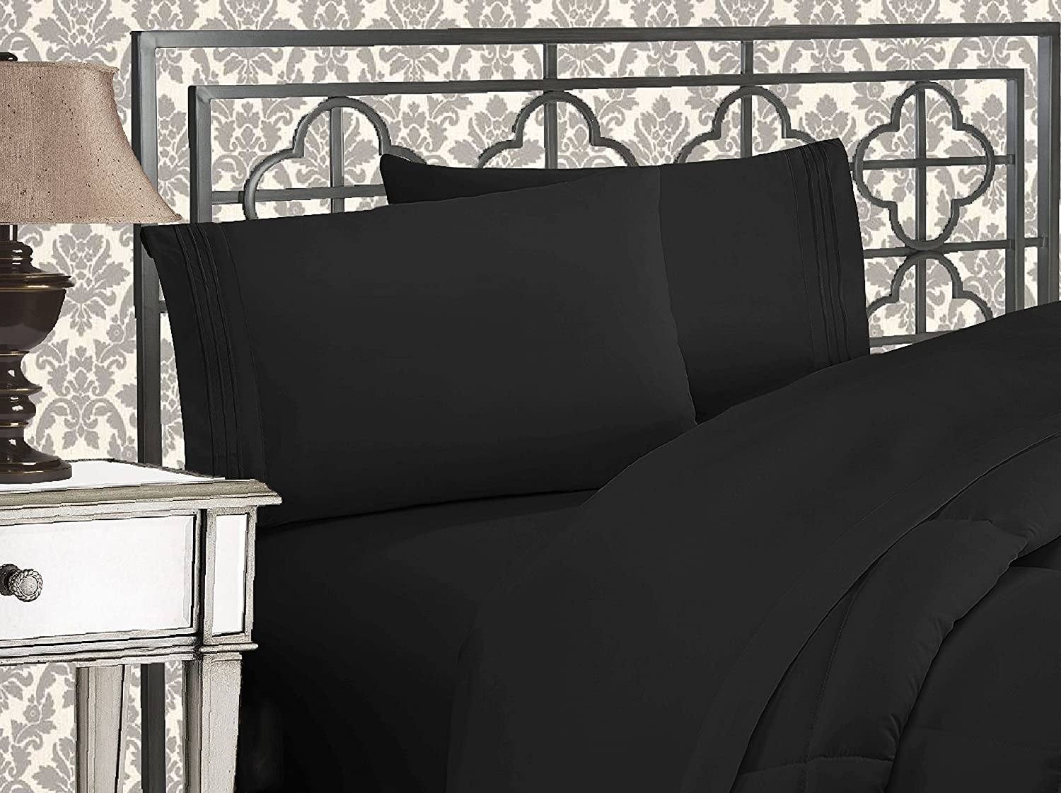 Elegant Comfort Luxurious 1500 Thread Count Egyptian Quality Three Line Embroidered Softest Premium Hotel Quality 4-Piece Black Bed Sheet Set