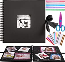 12x12 Inch Scrapbook Photo Album Kit with 5 Metallic Pens,Scissors and 216 Photo Corners,Perfect for Gifts or Yourself,60 ...