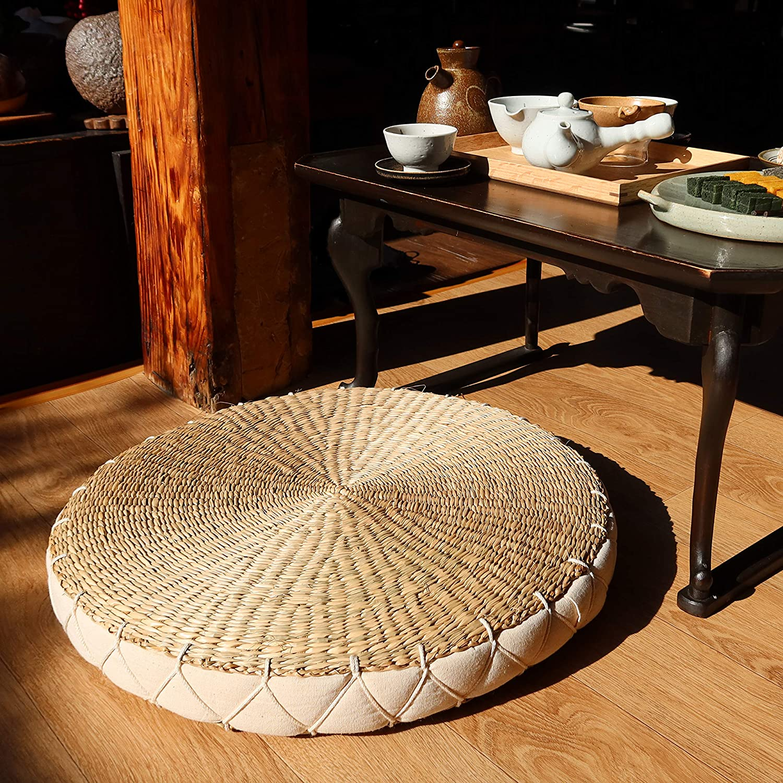 IMMASTUDIO Modern Handcrafted Oakland Mall Popular standard Ivory Round Straw Floor Cushion -