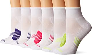 Fruit of the Loom Everyday Active Ankle Socks- 6 Pair Pack, White, Pink, Yellow, Purple, Women's Shoe Size: 4-10