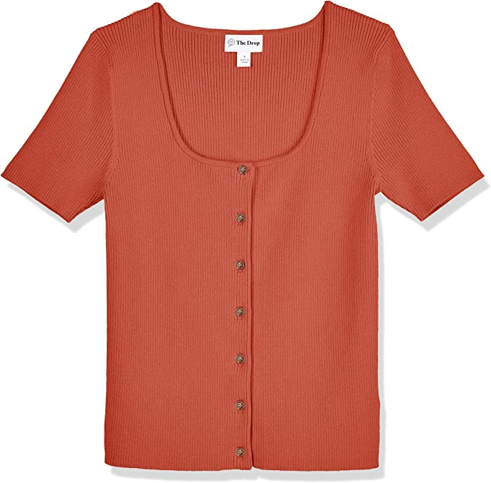The Drop Women's Maxine Short Sleeve Square Neck Button Front Rib Cardigan