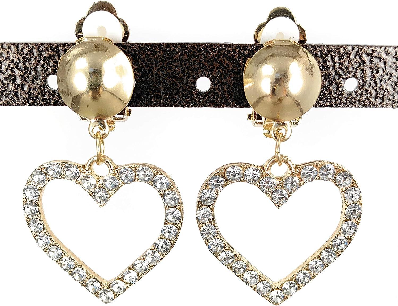 Gold Clip On earrings clear crystal heart pendant clips earrings lightweight non-pierced earrings