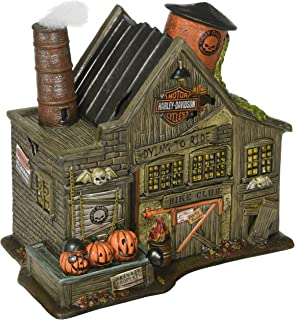 Department 56 4044878 Snow Village Halloween Harley Davidson Ghost Riders Club Lit House, 8.46