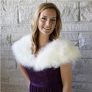 Ivory Natural Marabou Feather Shrug - Vintage Style Bolero Wedding Wrap for Women w/Hook