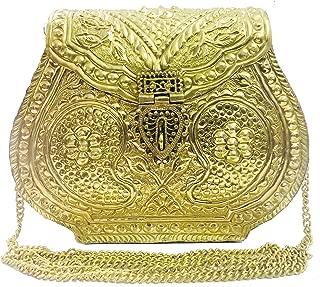 Indian Vintage Brass gold clutch antique Purse Ethnic Handmade Women metal clutch Bag…