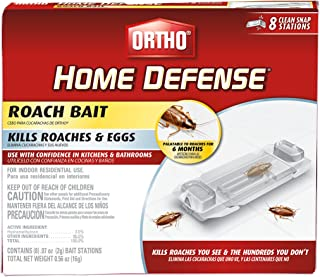 Ortho 0464912 Defense Roach Bait-Kills Cockroaches & Eggs in Your Home, Palatable for 6 Months, Includes 8 Individual Stat...