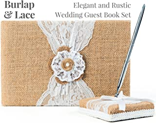 Rustic Wedding Guest Book Made of Burlap and Lace - Includes Burlap Pen Holder and Silver Pen - 120 Lined Pages for Guest Thoughts - Comes in Gift Box (Jute & Lace Flower with Pearl Center)