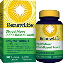 Renew Life Adult Digestmore Enzyme Formula Vegetarian Capsules, Plant-Based Foods, 90 Count