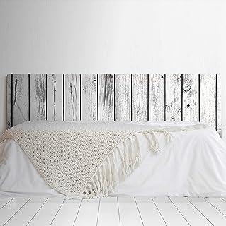 MEGADECOR Cabecero Cama PVC Decorativo Económico Impresa Textura Madera Tablas EnvejecidaS Verticales Blanco y Negro Varias Medidas (100 cm x 60 cm)