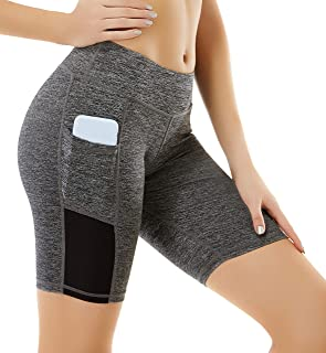 Uhnice High Waist Yoga Shorts with Pockets Workout Tummy Control Sports Pants
