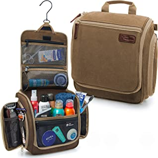 D&D Hanging Toiletry Bag - Designer Travel Organizer for Makeup and Toiletries for Men and Women - Hang Case for Cosmetics and Toilet Accessories with Metal Swivel Hook Cognac Brown