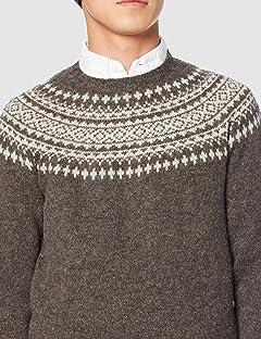 Yoke Pattern Crewneck Sweater M3170: Elephant / Putty