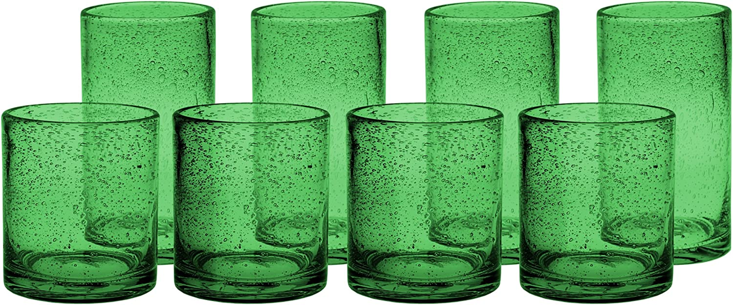 Artland New color Iris Green Seeded National products 8 Piece Glass and Fashioned Double Old