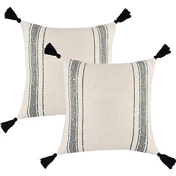 Decorative Throw Pillow ~ Cream /& Beige Lucca Cotton Cushion 12 x 20 inch