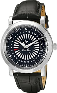 Lucien Piccard Men's 'Ruleta' Quartz Stainless Steel and Black Leather Casual Watch (Model: LP-40014-01)