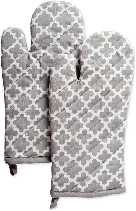 DII Cotton Lattice Oven Mitts 13 X 7 Set Of 2 Machine Washable And Heat Resistant Baking Glove For Everyday Kitchen Cooking Gray