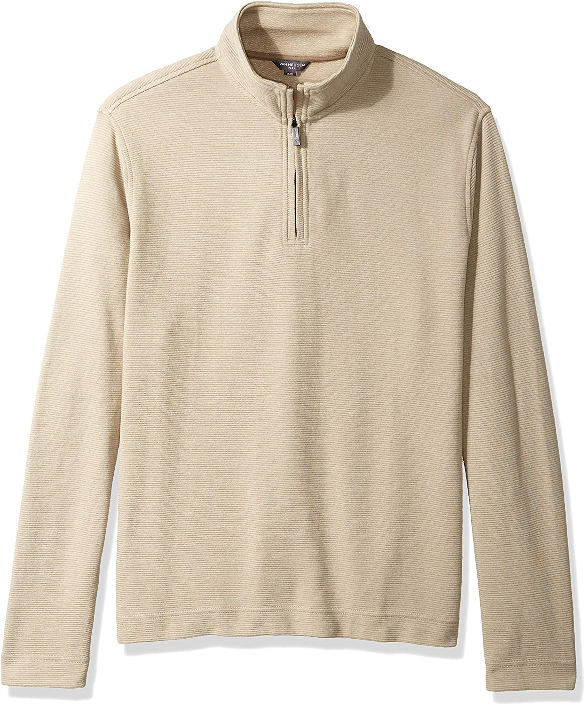 Van Heusen Men's Big and Tall Flex Long Sleeve 1/4 Zip Ottoman Solid Shirt