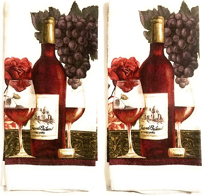 Mainstay Kitchen Towels 2 Pack Wine Design