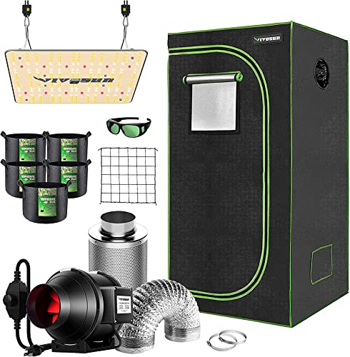 """VIVOSUN 24""""×24""""×36"""" Mylar Hydroponic Grow Tent Complete Kit, with 4 Inch Inline Duct Fan Combo Ventilation System, VS1000 LED Grow Light, Glasses, Grow Bags, Trellis Netting"""