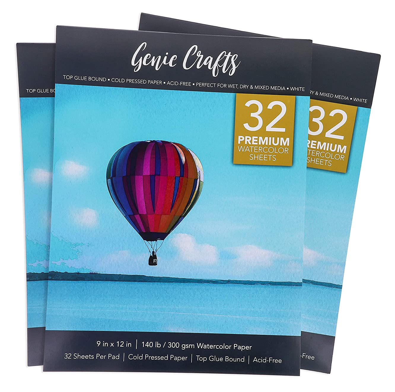 3-Pack Watercolor Paper Sketchbook Paint Pad, 32 Sheets Each, 9 x 12 Inches