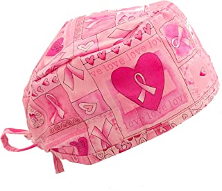 Pink Ribbon Breast Cancer Awareness Hearts & Flowers Scrub Cap