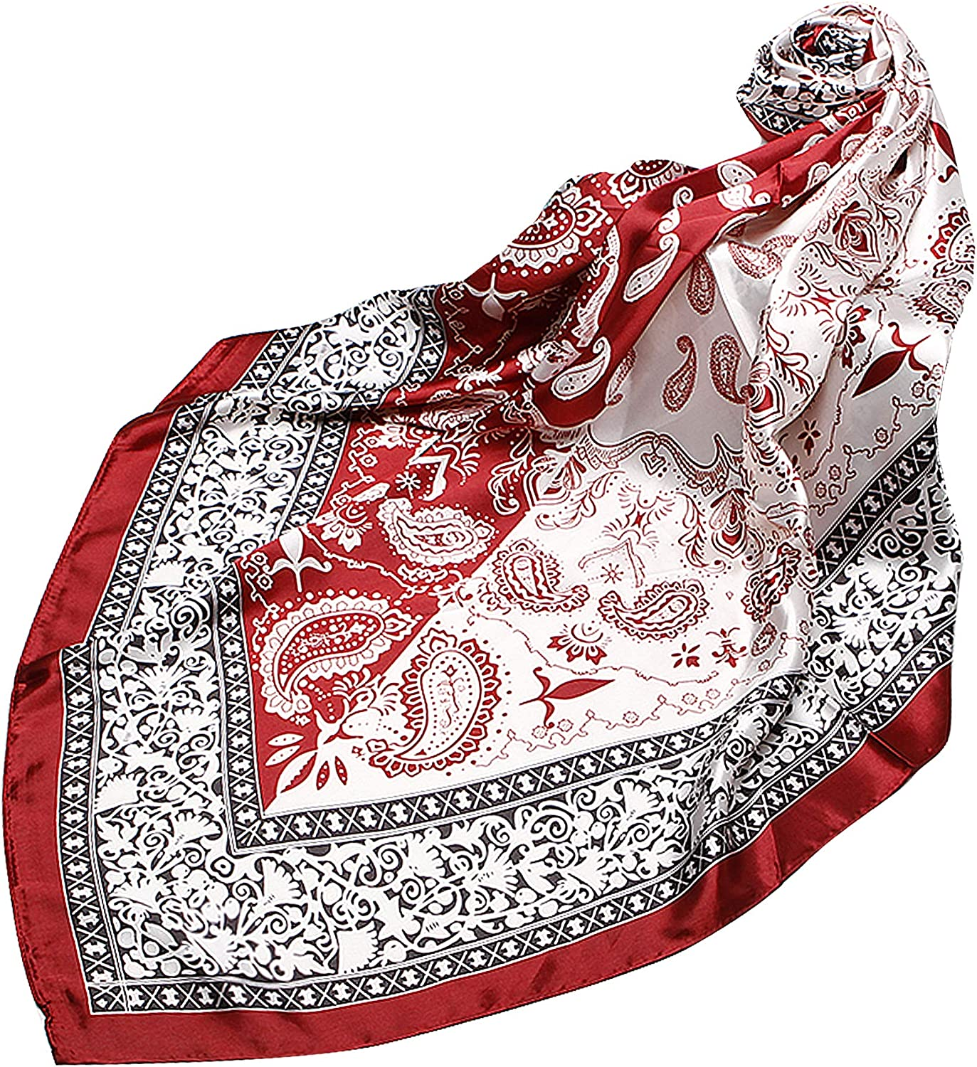 NOVMAY Women's Fashion Scarves Silk Satin Square Head Scarf Floral Print Headscarf for Women 35 X 35 Inches