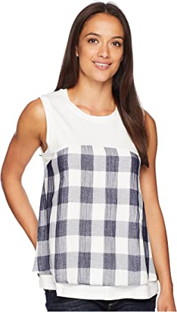 Sleeveless Ruffle Hem Gingham Blouse