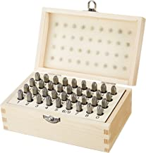 AmazonBasics Metal Alphabet And Number Stamp Kit Tools Set With Wood Box - 5/32 Inch