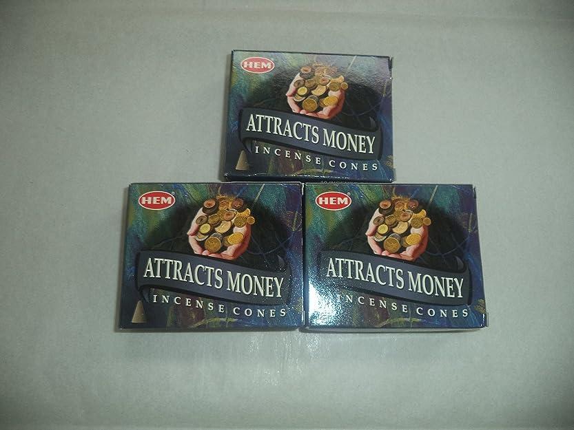 連想フォーマル系譜Hem Attracts Money Incense Cones、3パックの10?Cones = 30?Cones