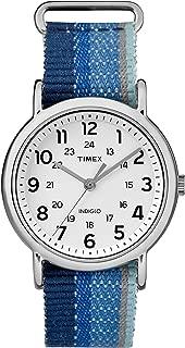 Unisex TW2R10200 Weekender Blue Striped Denim Slip-Thru Strap Watch