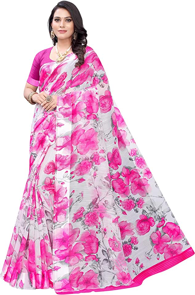 Indian Anni Designer Women's Grey & Pink Pure Linen Cotton Saree Saree