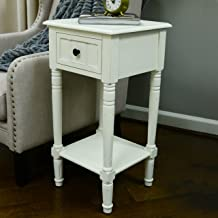 Décor Therapy Simplify Accent Table with Drawer, Antique White