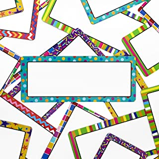 Juvale 36-Pack Dry Erase Magnetic Name Tag Plates, Classroom Labels, Assorted Designs, 5 x 2 Inches
