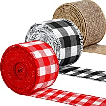 3 Rolls Christmas Wired Edge Ribbons 30 Yards x 2 Inches Red White Plaid Ribbon Black White Gingham Buffalo Ribbon and Bur...