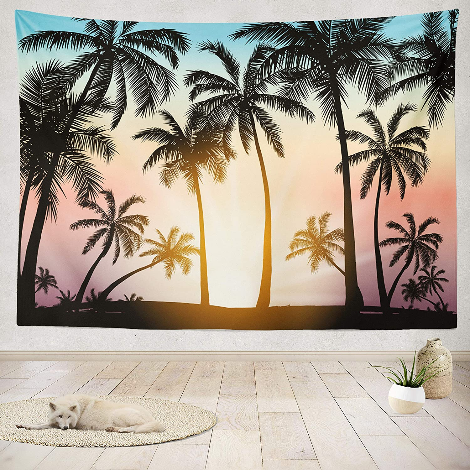 ASOCO New sales Tapestry Wall Handing with Genuine Silhouette Trees Tropical Palm