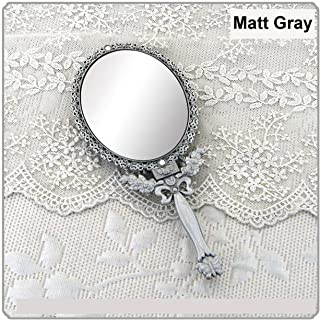 Butterfly Designed Double Sided Magnification Hand Held Makeup Metal Mirror Folding Handle Stand Travel Mirror (Large, Tin (Matt Gray))