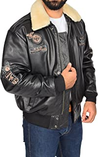 Mens Leather Bomber Jacket with Badges Aviator Pilot Flying Style Pilot-N Brown