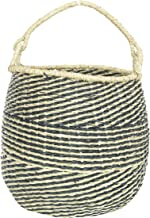 "Bloomingville 21.25"" H Handwoven Seagrass Handle Basket, Black"