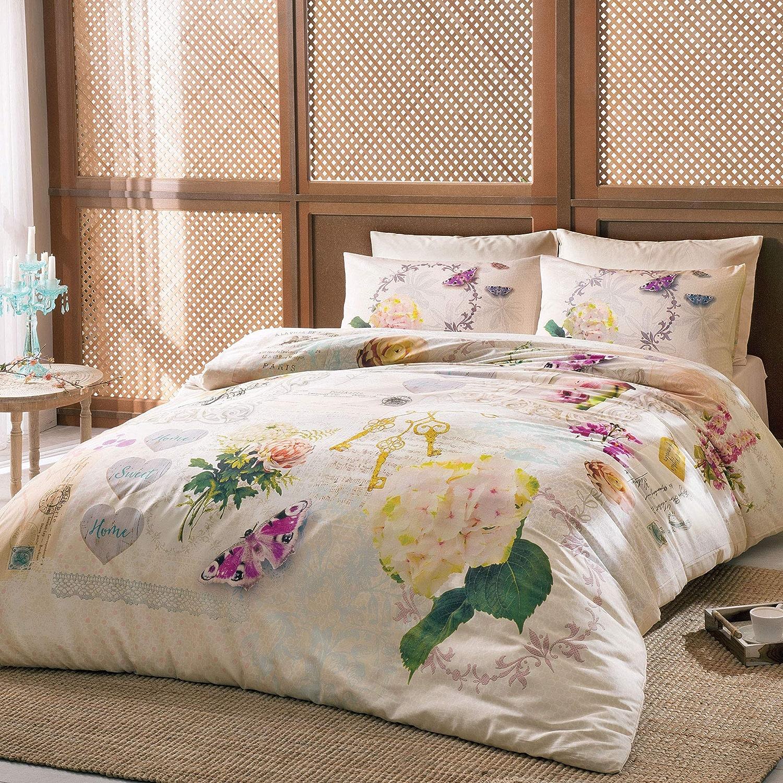 TAC Parure de lit Claire Satin Housse de Couette 200 x 220 cm Taie d'oreiller 230 x 250 cm + 2 taies d'oreiller 50 x 70 cm
