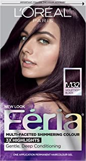 L'Oréal Paris Feria Multi-Faceted Shimmering Permanent Hair Color, M32 Midnight Star (Violet Soft Black), 1 kit Hair Dye